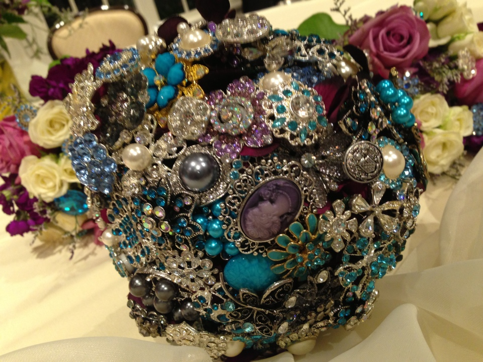 The bride's bouquet, made with costume jewelry by the groom