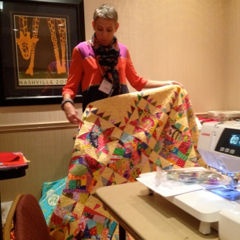 VFW with the quilt from her book cover