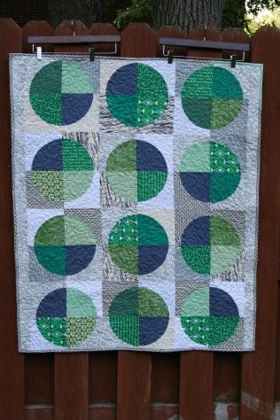Mason's quilt, made with quarter-circle blocks