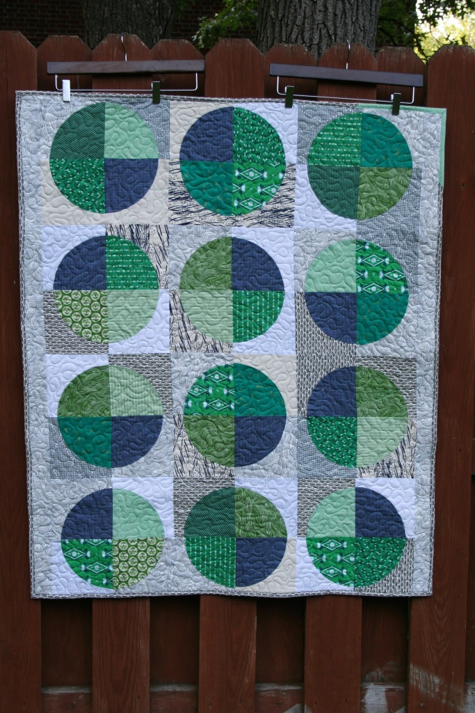 Mason's quilt, made with quarter-circle blocks
